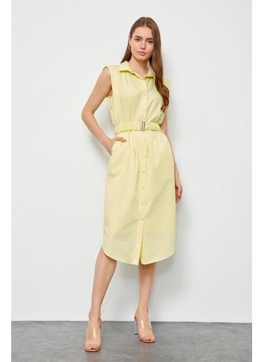 Setre Şeftali Kehribarı Kemerli Poplin Gömlek Elbise Sarı